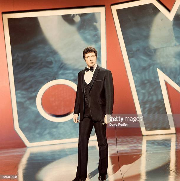 Welsh singer Tom Jones performs on a television show circa 1970.