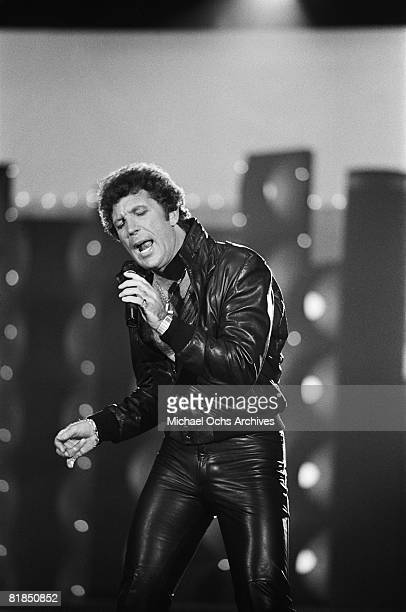 Welsh singer Tom Jones performs on a television show on April 30 1984 in Los Angeles California