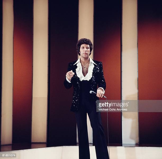 Welsh singer Tom Jones performs on atelevision show circa 1975 in Los Angeles, California.