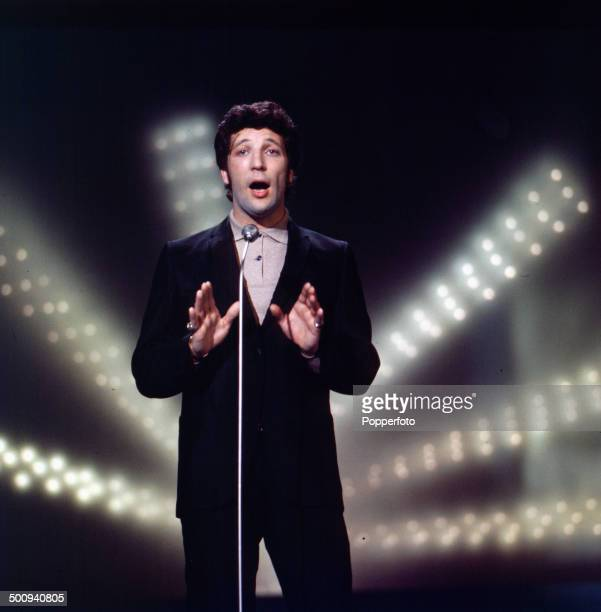 Welsh singer Tom Jones performs on the television series 'The Bruce Forsyth Show' in 1966