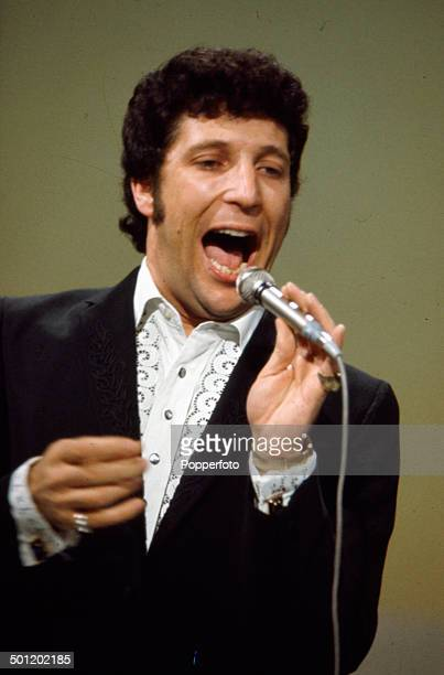 Welsh singer Tom Jones performs on the television series 'The Dickie Valentine Show' in 1966