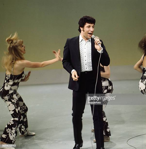 Welsh singer Tom Jones pictured performing on the television series 'The Dickie Valentine Show' in 1966