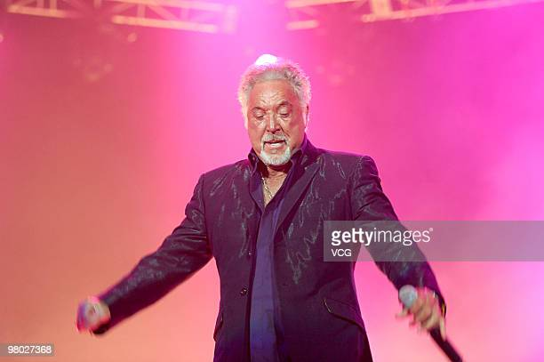 Welsh singer Tom Jones sings during his concert at Hong Kong Exhibition Centre on March 24 2010 in Hongkong of China