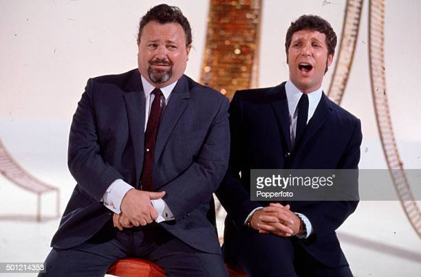 Welsh singers and entertainers Harry Secombe and Tom Jones pictured together on the set of the television series 'Secombe And Friends' in 1968