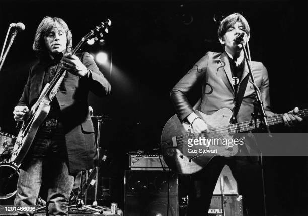 Welsh singer-songwriter, guitarist, actor and record producer Dave Edmunds and English singer-songwriter, musician and producer Nick Lowe performing...