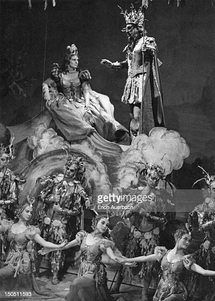 Welsh soprano Mary Thomas in the final masque of Henry Purcell's semiopera 'The Tempest' at the Old Vic theatre London 8th June 1959