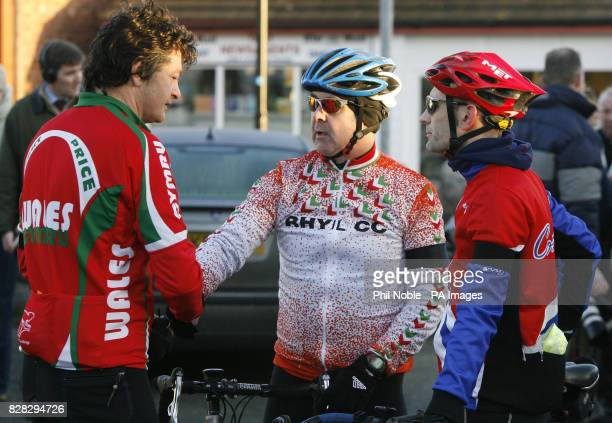 Welsh Sports Minister Alun Pugh meets a cyclist from Rhyll Cycling Club on a club ride Sunday January 15 2006 a week on from a crash which killed...