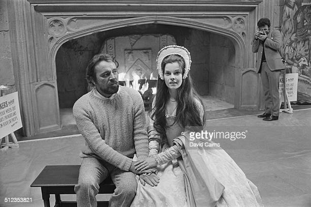 Welsh stage and cinema actor Richard Burton and Canadian actress Geneviève Bujold on the set of 'Anne of the Thousand Days' at Shepperton Studios 1969