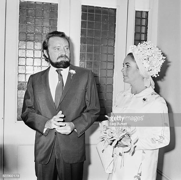 Welsh stage and screen actor Richard Burton best man with his wife British actress Elizabeth Taylor a bridesmaid at the wedding of Robert Wilson and...