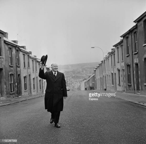 Welsh stage and silent screen actor Gareth Hughes walking on a road in Llanelli, UK, 14th October 1963.
