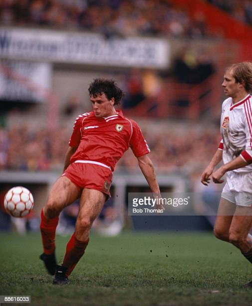 Welsh striker Mark Hughes volleys the ball towards the Czechoslovakian goal during the European Championship Qualifying match between Wales and...