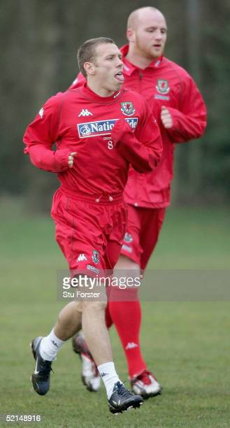 Welsh strikers Craig Bellamy and John Hartson during the Wales Football squad training at The University Training grounds, Treforest, on February 7,...