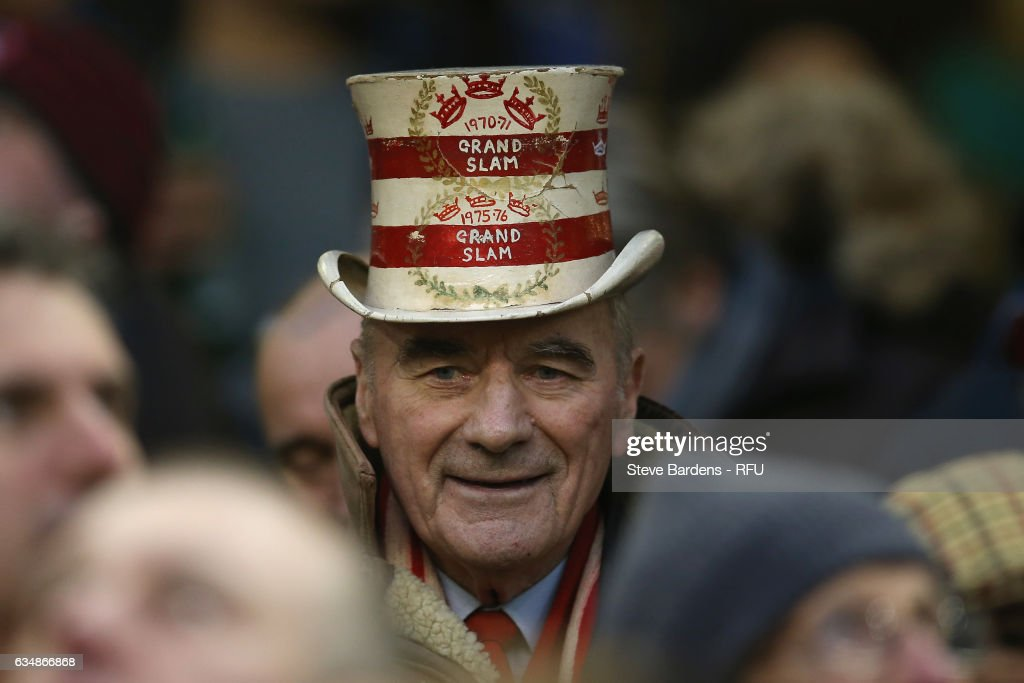 A Welsh supporter wearing a Grand Slam hat looks on prior to the RBS Six Nations match between Wales and England at the Principality Stadium on February 11, 2017 in Cardiff, Wales.