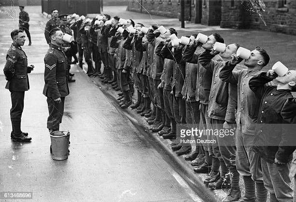 Welsh troops take part in a morning gargle as a flu prevention