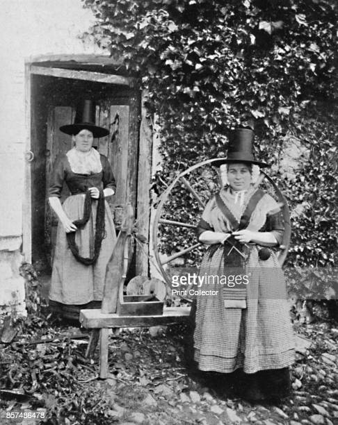 Welsh women with a spinning wheel, 1912. From The Living Races of Mankind, Vol. II. [Hutchinson & Co, London, 1912]. Artist Unknown.