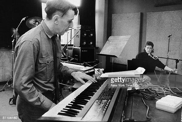 Welshborn musician John Cale and American musician Lou Reed work together at Montana Studios New York New York December 27 1988 These sessions were...