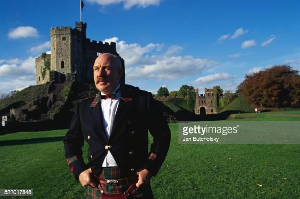 Welshman Wearing Kilt at Cardiff Castle