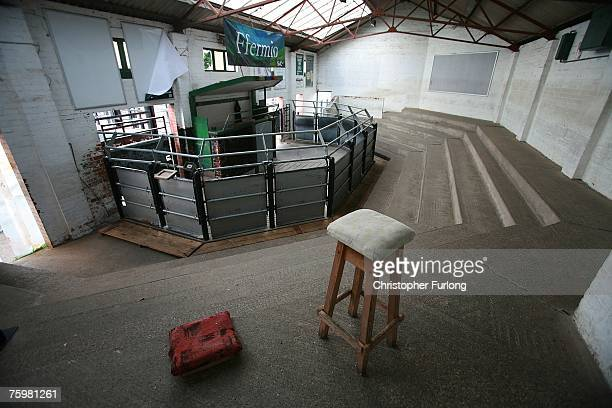 Welshpool Livestock Auction auction room is empty in the wake of the Foot and Mouth disease outbreak in Surrey, August 6, 2007 in Welshpool, England....