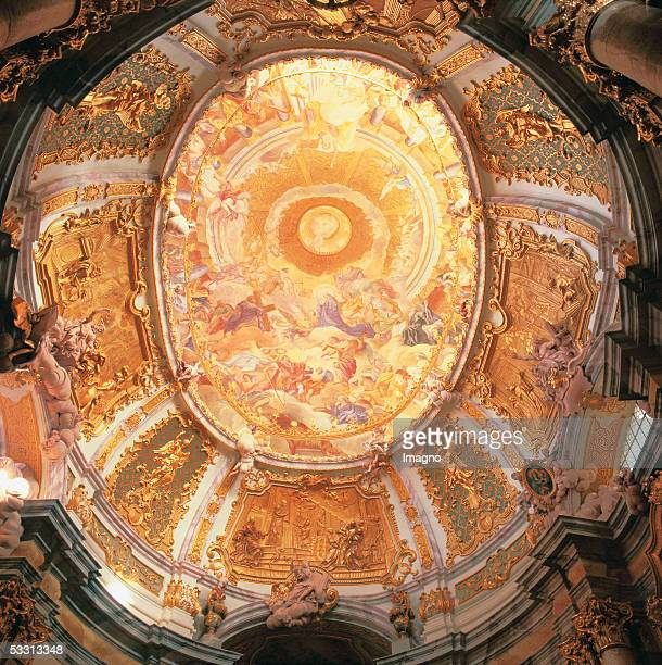 Weltenburg on the Danube Bavaria Benedictine monastery Ceiling fresco triumphant church by C D Asam signed with the date 1721 Founding date...