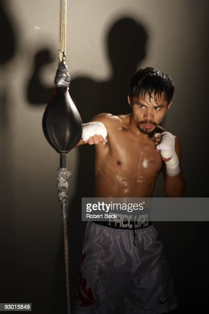 Portrait of Manny Pacquiao during photo shoot at Wild Card Boxing Club gym in Hollywood Los Angeles CA CREDIT Robert Beck