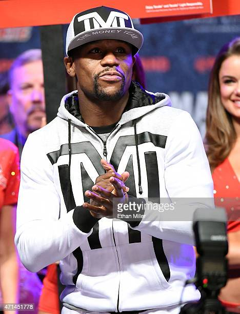 Welterweight champion Floyd Mayweather Jr. Arrives at MGM Grand Garden Arena on April 28, 2015 in Las Vegas, Nevada. Mayweather will face WBO...