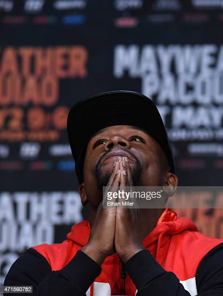 Welterweight champion Floyd Mayweather Jr. Attends a news conference at the KA Theatre at MGM Grand Hotel & Casino on April 29, 2015 in Las Vegas,...