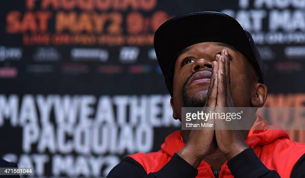 WBA welterweight champion Floyd Mayweather Jr attends a news conference at the KA Theatre at MGM Grand Hotel Casino on April 29 2015 in Las Vegas...