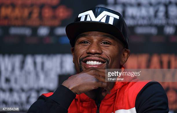 Welterweight champion Floyd Mayweather Jr. Smiles during a news conference at the KA Theatre at MGM Grand Hotel & Casino on April 29, 2015 in Las...