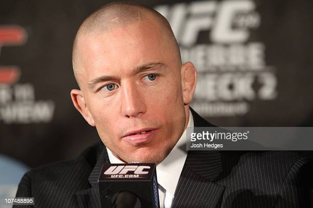 Welterweight Champion Georges St-Pierre at the UFC 124 pre-fight press conference at the Bell Centre on December 9, 2010 in Montreal, Quebec, Canada.