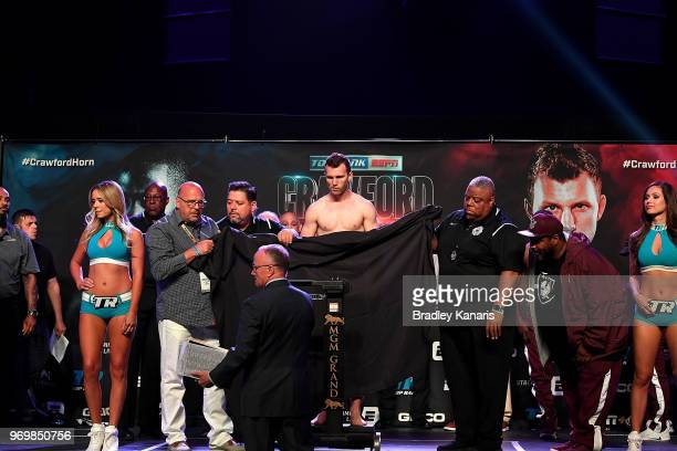 WBO welterweight champion Jeff Horn does not make seight on his first attempt on the scales during his official weighin at MGM Grand Garden Arena on...