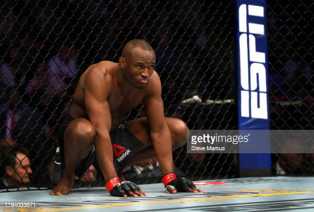 Welterweight champion Kamaru Usman prepares for his title defense against Colby Covington during UFC 245 at T-Mobile Arena on December 14, 2019 in...