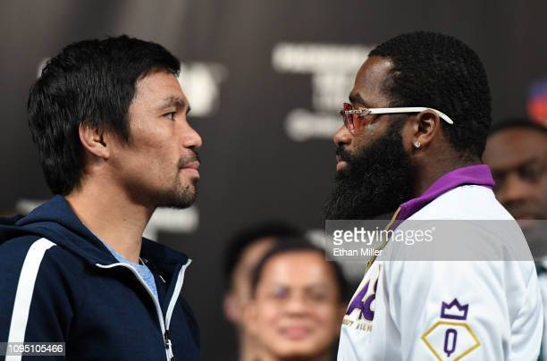 WBA welterweight champion Manny Pacquiao and Adrien Broner face off during a news conference at MGM Grand Hotel Casino on January 16 2019 in Las...