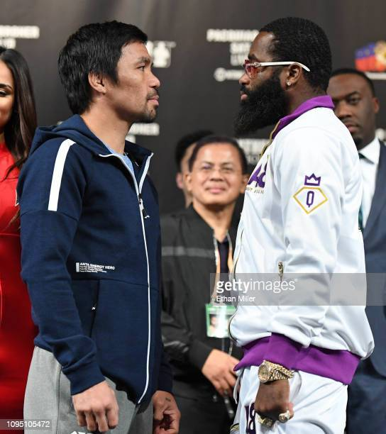 Welterweight champion Manny Pacquiao and Adrien Broner face off during a news conference at MGM Grand Hotel & Casino on January 16, 2019 in Las...