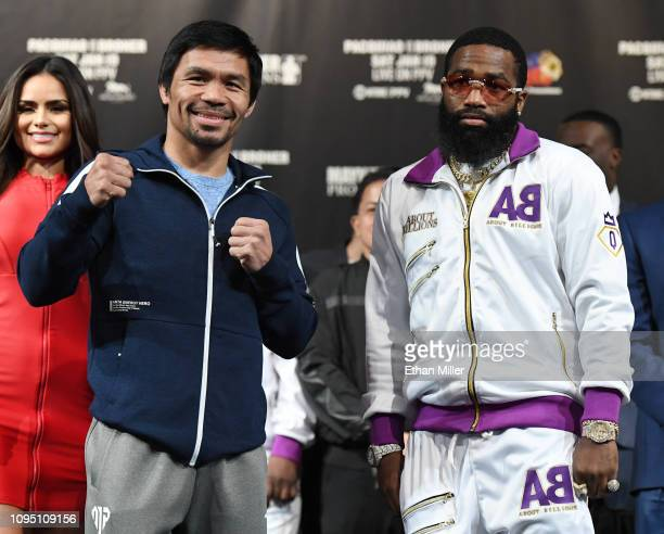 WBA welterweight champion Manny Pacquiao and Adrien Broner pose during a news conference at MGM Grand Hotel Casino on January 16 2019 in Las Vegas...