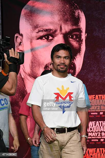 Welterweight champion Manny Pacquiao arrives at a fan rally at the Mandalay Bay Convention Center on April 28, 2015 in Las Vegas, Nevada. Pacquiao...
