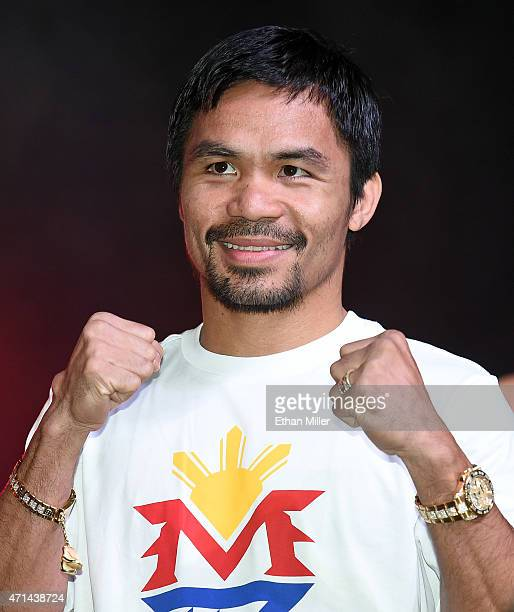 WBO welterweight champion Manny Pacquiao poses during a fan rally at the Mandalay Bay Convention Center on April 28 2015 in Las Vegas Nevada Pacquiao...