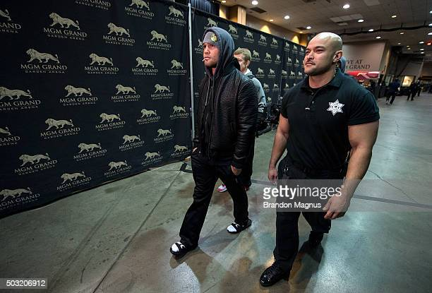 Welterweight champion Robbie Lawler arrives to the arena during the UFC 195 event inside MGM Grand Garden Arena on January 2, 2016 in Las Vegas,...