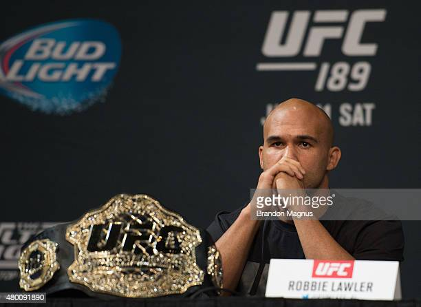 UFC welterweight champion Robbie Lawler speaks to the media during the UFC 189 TUF Finale Press Conference at MGM Grand Hotel Casino on July 9 2015...