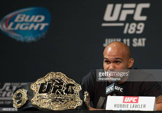 Welterweight champion Robbie Lawler speaks to the media during the UFC 189 & TUF Finale Press Conference at MGM Grand Hotel & Casino on July 9, 2015...
