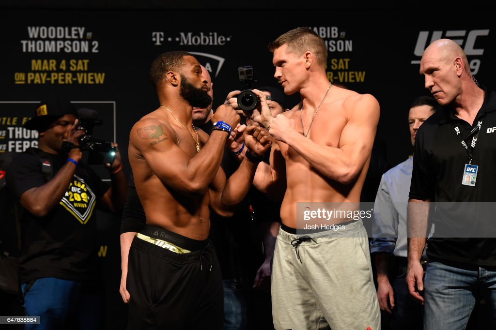 UFC welterweight champion Tyron Woodley and Stephen Thompson face off during the UFC 209 weigh-in at T-Mobile arena on March 3, 2017 in Las Vegas, Nevada.