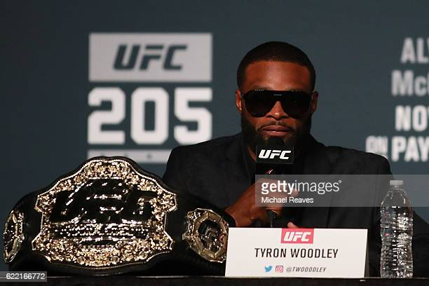 Welterweight Champion Tyron Woodley answers a question during the UFC 205 press conference at The Theater at Madison Square Garden on November 10...