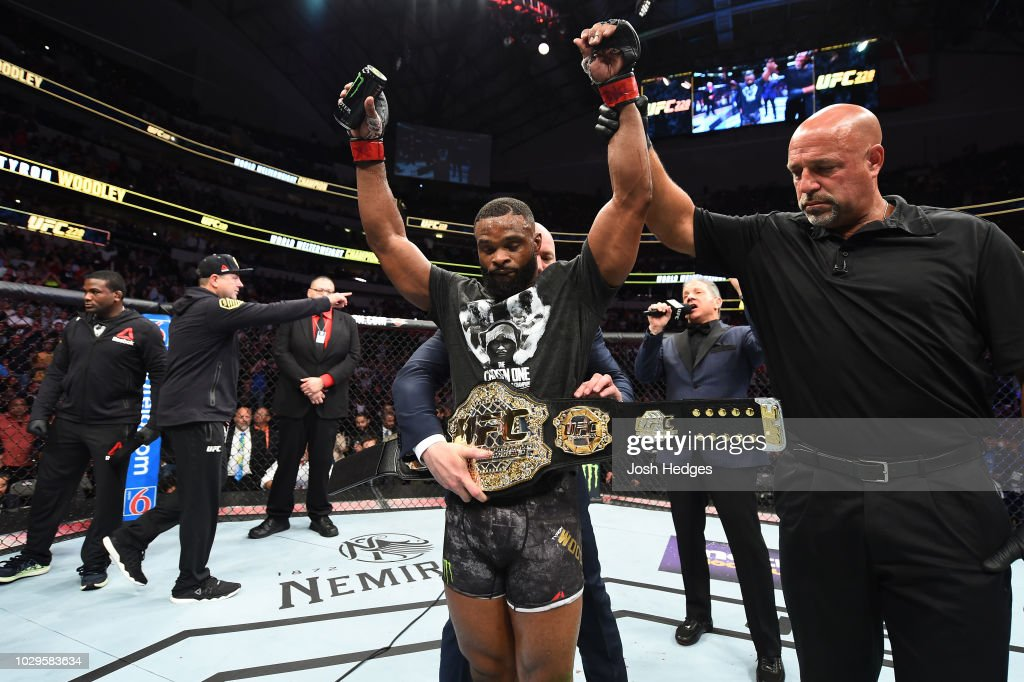 UFC welterweight champion Tyron Woodley celebrates after defeating Darren Till of England in their UFC welterweight championship fight during the UFC 228 event at American Airlines Center on September 8, 2018 in Dallas, Texas.