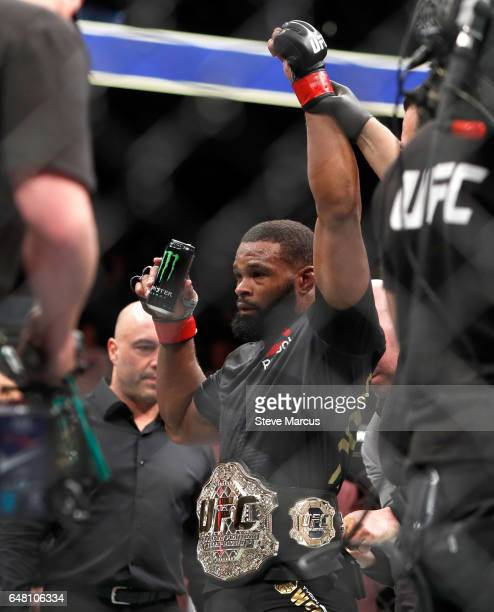 Welterweight champion Tyron Woodley celebrates his majoritydecision win over Stephen Thompson after their title fight during UFC 209 on March 4 2017...