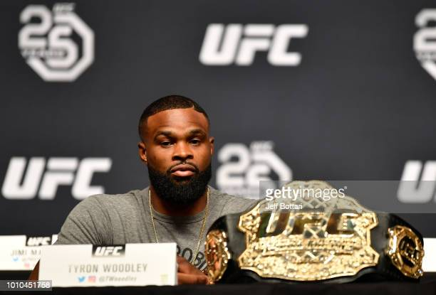 UFC welterweight champion Tyron Woodley interacts with the media during the UFC press conference inside the Orpheum Theater on August 3 2018 in Los...