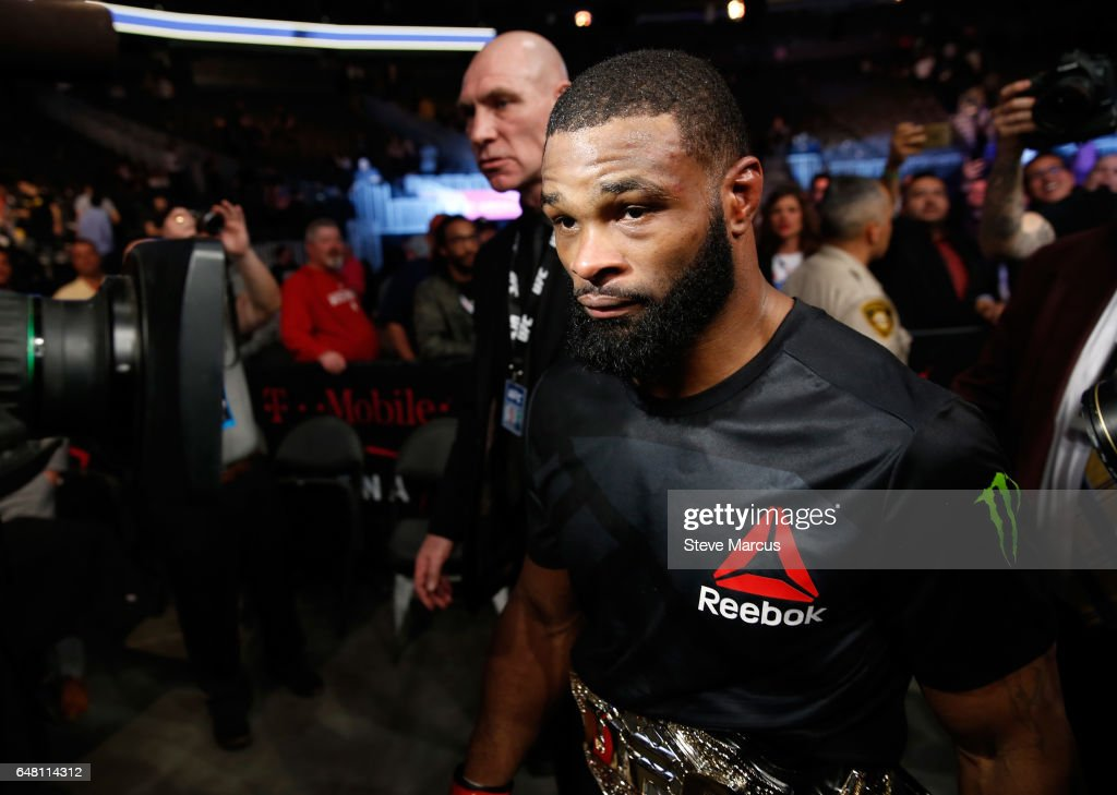 UFC welterweight champion Tyron Woodley, leaves the Octagon after his title defense against Stephen Thompson at UFC 209 on March 4, 2017 in Las Vegas, Nevada. Woodley defended his title with a majority-decision win.