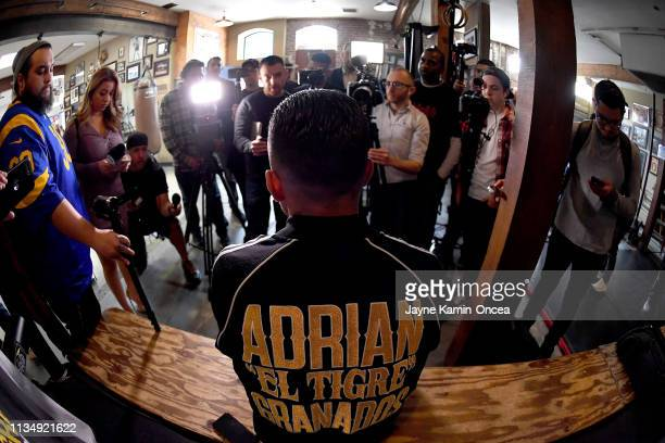 Welterweight Contender Adrian Granados answers questions during a media day workout for his upcoming fight against Danny Swift Garcia at Fortune Gym...