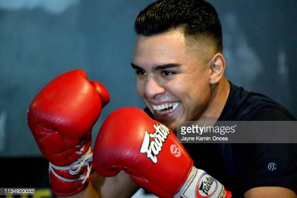 Welterweight Contender Adrian Granados in the ring during a media day workout for his upcoming fight against Danny Swift Garcia at Fortune Gym on...