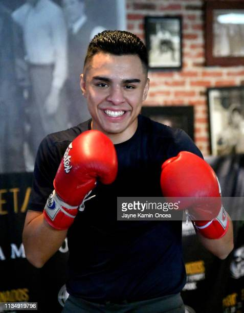 Welterweight Contender Adrian Granados shadow boxes in the ring during a media day workout for his upcoming fight against Danny Swift Garcia at...
