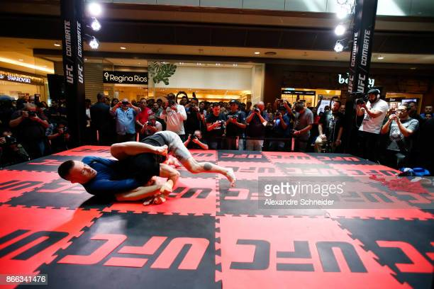 Welterweight contender Colby Covington practices during the Open Workouts at the Vila Olimpia Mall for the UFC Fight Night Sao Paulo on October 25...