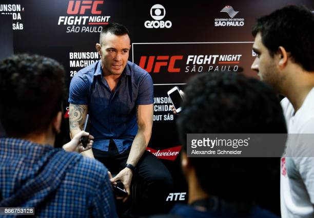 Welterweight contender Colby Covington talks to the press during the Ultimate Media Day at the Matsubara Hotel for the UFC Fight Night Sao Paulo on...